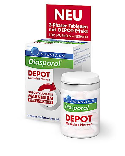 Produktinnovation! Hochdosiertes Magnesium plus Vitamin B-Komplex: Magnesium-Diasporal Depot Muskeln + Nerven.