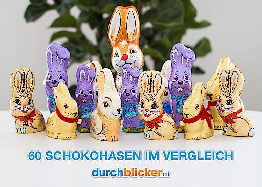 durchblicker.at unterzieht 60 Schoko-Osterhasen dem Preisvergleich im im eigenen Osterhasen-Vergleichsrechner.