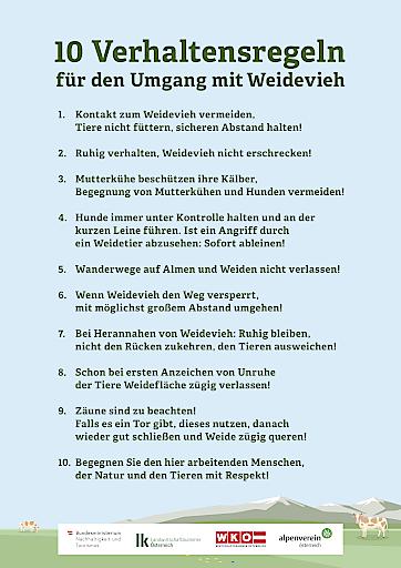 10 Verhaltensregeln für Almbesucher/innen
