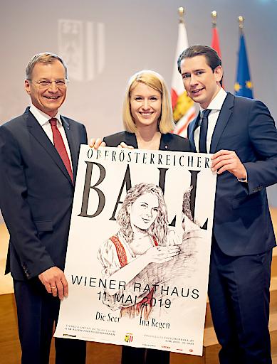 Landeshauptmann Mag. Thomas Stelzer, LH-Stv.in Mag.a Christine Haberlander und Bundeskanzler Sebastian Kurz