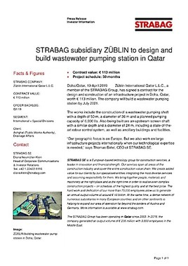 EANS-News: Strabag subsidiary Züblin to design and build wastewater pumping station in Qatar