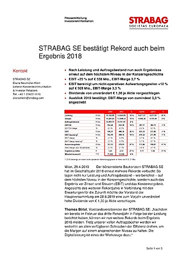 EANS-News: Strabag SE bestätigt Rekord auch beim Ergebnis 2018