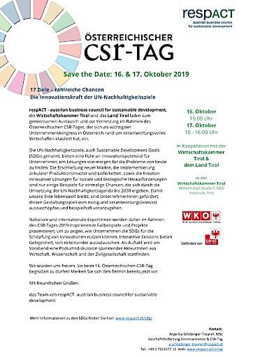 17 Ziele – zahlreiche Chancen: CSR-Tag 2019 stellt Innovationskraft der UN-Nachhaltigkeitsziele in den Mittelpunkt
