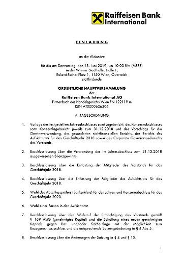 EANS-Hauptversammlung: Raiffeisen Bank International AG / Einberufung zur Hauptversammlung gemäß § 107 Abs. 3 AktG