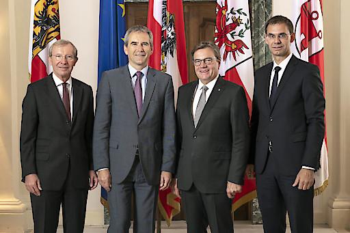 Gruppenfoto: Wilfried Haslauer, Hartwig Löger, Günther Platter, Markus Wallner