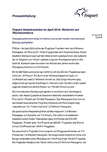 Fraport-Verkehrszahlen im April 2019: Weiterhin auf Wachstumskurs