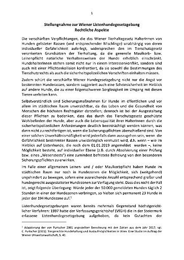 Offener Brief: Positionspapier der Wiener Tierärzteschaft