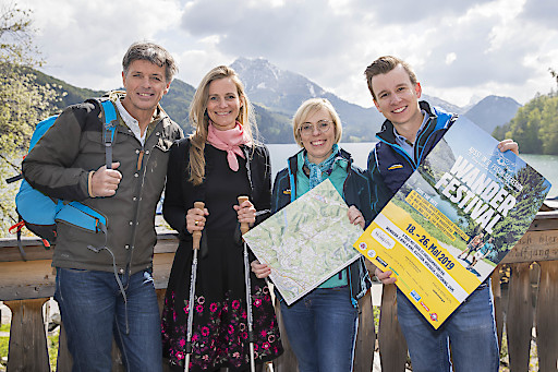 PK zum Wander Festival in Fuschl Foto: Neumayr/Leo 07.05.2019 im Bild: Herbert Raffalt, Johanna Henning , Hildegund Schirlbauer, Christopher Langegger,