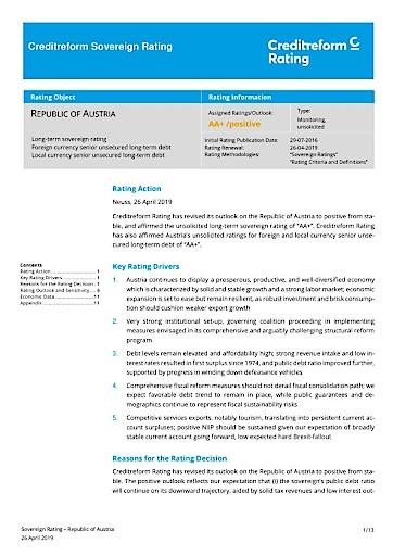 Creditreform Rating: Österreich weiterhin mit AA+