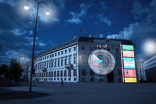 """Visualisierung der Projektion der """"Zeituhr 1938"""" auf die Fassade des Bundeskanzleramts in Wien."""