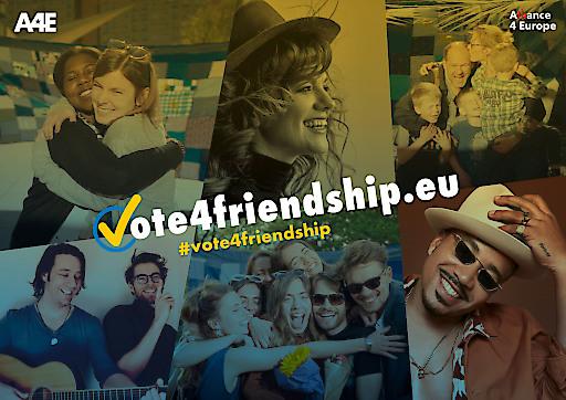 """#vote4friendship_key_visual (c)A4E. Weiterer Text über ots und www.presseportal.de/nr/134760 / Die Verwendung dieses Bildes ist für redaktionelle Zwecke honorarfrei. Veröffentlichung bitte unter Quellenangabe: """"obs/Alliance4Europe"""""""