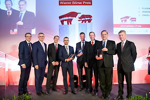 https://www.apa-fotoservice.at/galerie/18375 Wiener Börse Preis 2019 – Unternehmen für herausragende Medienarbeit ausgezeichnet, v.l.n.r.: Harald Hagenauer (C.I.R.A.), Robert Ottel (voestalpine AG), Stefan Dörfler (Erste Group Bank AG), Peter Felsbach (voestalpine AG), Michael Mauritz (Erste Group Bank AG), Stephan Klasmann (Flughafen Wien AG), Günther Ofner (Flughafen Wien AG), Wolfgang Nedomansky (APA-Finance)