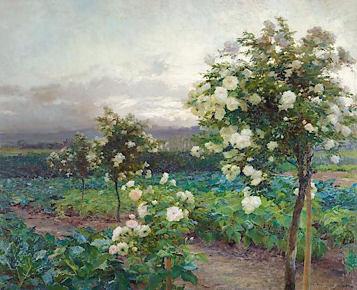 OLGA WISINGER-FLORIAN (1844–1926), Sommerabend (Es ist die Zeit der Rosenpracht), 1896 Öl auf Karton, 74 × 90 cm Leopold Privatsammlung