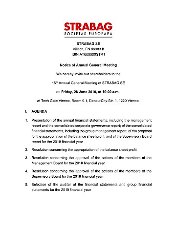 EANS-General Meeting: STRABAG SE / Invitation to the General Meeting according to art. 107 para. 3 Companies Act