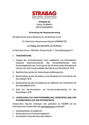 EANS-Hauptversammlung: STRABAG SE / Einberufung zur Hauptversammlung gemäß § 107 Abs. 3 AktG