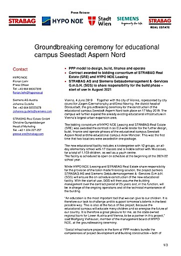 EANS-News: Groundbreaking ceremony for educational campus Seestadt Aspern Nord