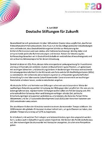 Deutsche Stiftungen für Zukunft: oberste Priorität für Nachhaltige Entwicklung und Klimaschutz