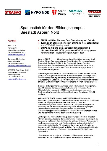 EANS-News: Spatenstich für den Bildungscampus Seestadt Aspern Nord