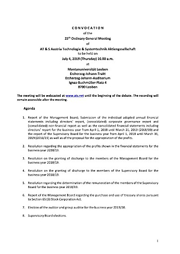 EANS-General Meeting: AT & S Austria Technologie & Systemtechnik Aktiengesellschaft / Invitation to the General Meeting according to art. 107 para. 3 Companies Act