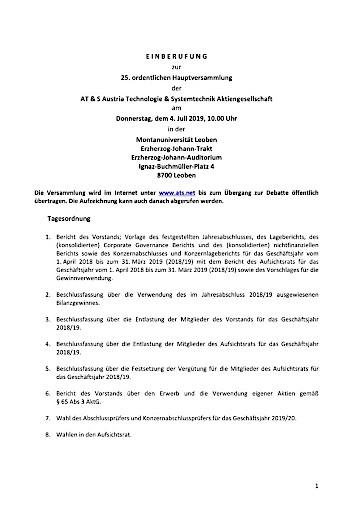 EANS-Hauptversammlung: AT & S Austria Technologie & Systemtechnik Aktiengesellschaft / Einberufung zur Hauptversammlung gemäß § 107 Abs. 3 AktG