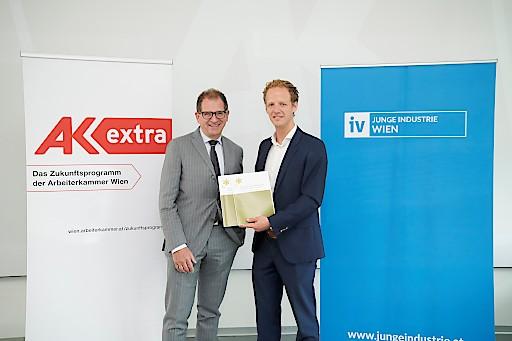 AK Direktor Christoph Klein und Nikolaus Griller, Vorsitzender der Jungen Industrie Wien