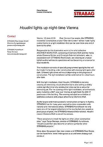 EANS-News: Houdini lights up night-time Vienna