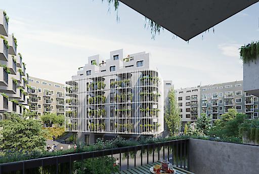 Der rund 3.500 Quadratmeter große Innenhof mit einer üppigen Begrünung bildet das Herzstück des Projekts WOHNGARTEN