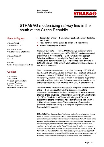 EANS-News: Strabag modernising railway line in the south of the Czech Republic