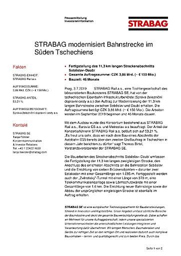 EANS-News: Strabag modernisiert Bahnstrecke im Süden Tschechiens
