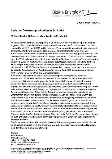 Ende der Ökostromproduktion in St. Andrä