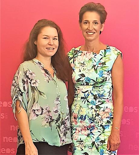 Indra Collini ist neue NEOS Lab Präsidentin: Birgit Allerstorfer (NEOS Lab Direktorin) und Indra Collini (NEOS Lab Präsidentin)