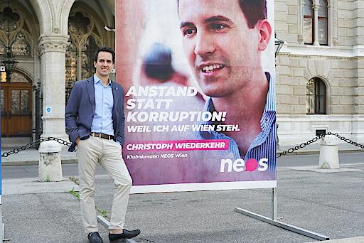 Anstand statt Korruption - die neue Wien-Kampagne von NEOS Wien mit Klubobmann Christoph Wiederkehr