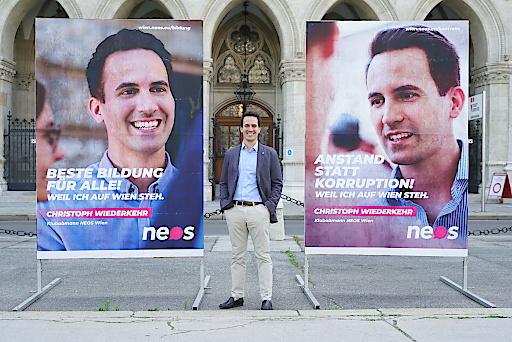 Wien-Kampagne von NEOS Wien mit Klubobmann Christoph Wiederkehr