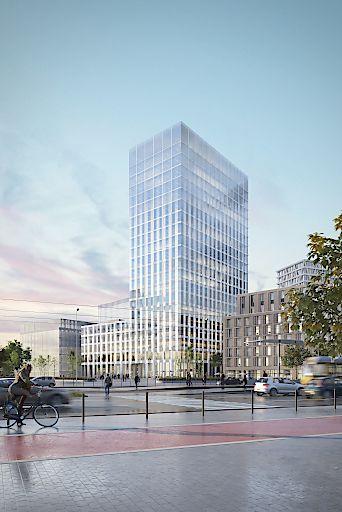 Visualisierung des neuen Bürohochhauses - Blick vom Berliner Hauptbahnhof