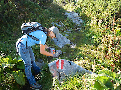 Wege Markierung auf alpinen Pfaden