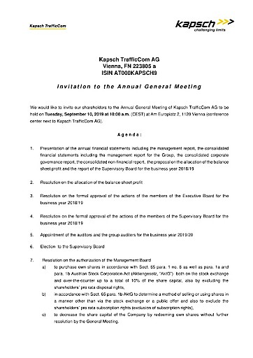 EANS-General Meeting: Kapsch TrafficCom AG / Invitation to the General Meeting according to art. 107 para. 3 Companies Act
