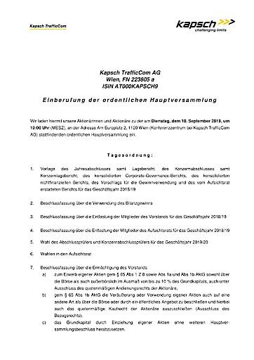 EANS-Hauptversammlung: Kapsch TrafficCom AG / Einberufung zur Hauptversammlung gemäß § 107 Abs. 3 AktG