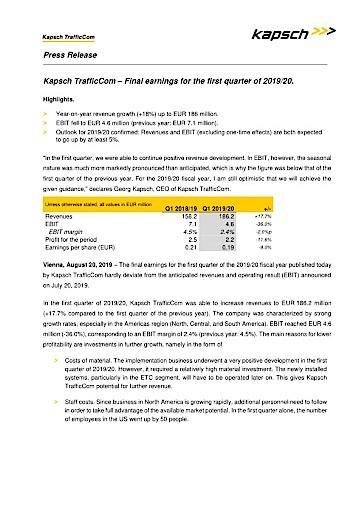 EANS-News: Kapsch TrafficCom – Final earnings for the first quarter of 2019/20.
