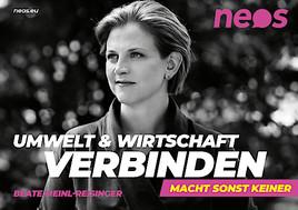 """""""Umwelt und Wirtschaft verbinden - Macht sonst keiner"""": NEOS präsentieren erstes Kampagnensujet"""