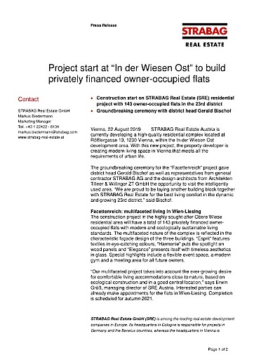 """EANS-News: Project start at """"In der Wiesen Ost"""" to build privately financed owner-occupied flats"""