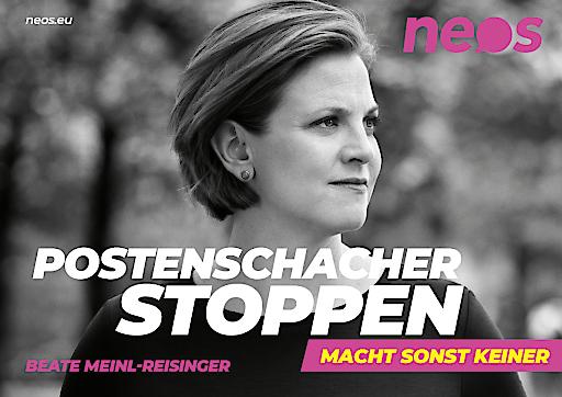 "NEOS Kampagnensujet ""Postenschacher stoppen"""