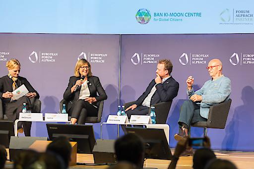 """Im Rahmen des Europäischen Forums Alpbach 2019 nahm Bundesministerin Maria Patek an der Veranstaltung """"Breakout: Global denken, regional handeln: Die UN-Nachhaltigkeitsziele in Europa fördern"""" im Congress Center teil."""