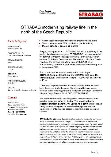 EANS-News: Strabag modernising railway line in the north of the Czech Republic