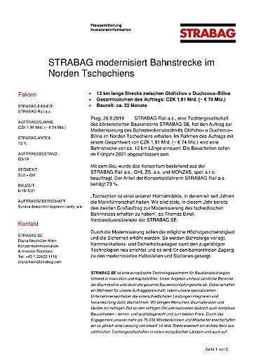 EANS-News: Strabag modernisiert Bahnstrecke im Norden Tschechiens