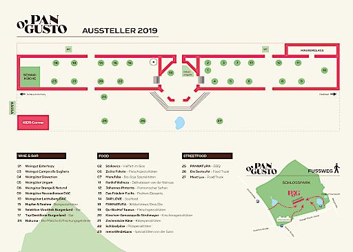 Lageplan Kulinarikfestival Pan O'Gusto am 14. und 15. September in der Eisenstädter Orangerie