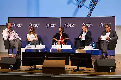 v.l.n.r Heinz Faßmann, Sonja Zimmermann, Rebekka Dober, Franz Schellhorn, Jörg Dräger