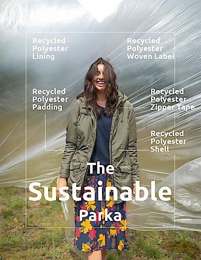 Ein Highlight der zweiten Sustainable Collection von bonprix ist der Parka, für den insgesamt 25 recycelte PET-Flaschen à 0,5 Liter nachhaltig verarbeitet wurden.