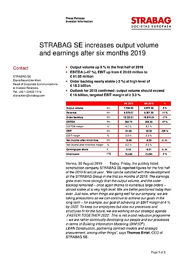 EANS-News: Strabag SE increases output volume and earnings after six months 2019