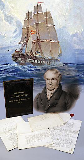 Collage: Alexander von Humboldt und Fregatte Novara