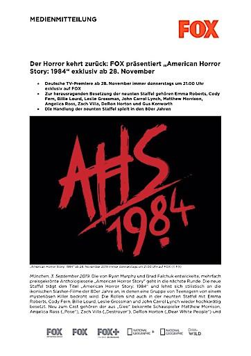"Der Horror kehrt zurück: FOX präsentiert ""American Horror Story: 1984"" exklusiv ab 28. November (FOTO)"